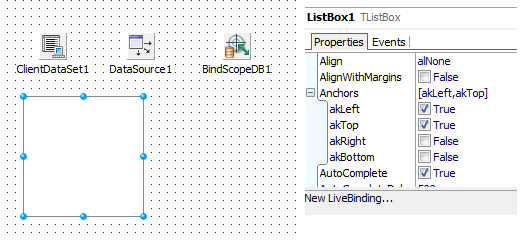 LiveBindings: Fill a TListBox from a TClientDataSet at design time