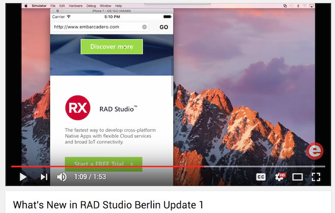 Build apps for macOS Sierra and iOS 10 with RAD Studio Berlin Update