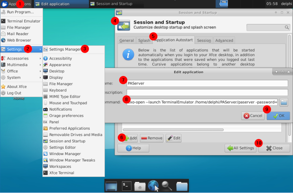 Setting Xfce4 to auto launch PAServer