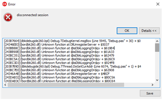 The disconnected session error message, when close the debug