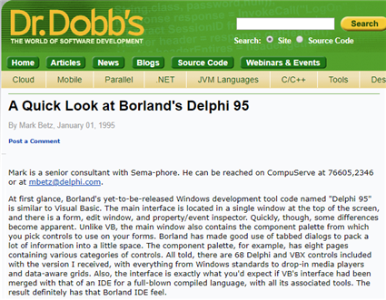 Release info from the web version of Dr.Dobb's Journal archives