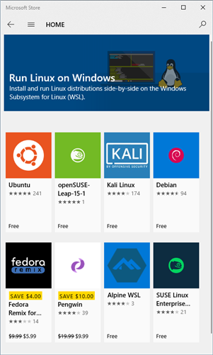 Windows Subsystem for Linux Distributions