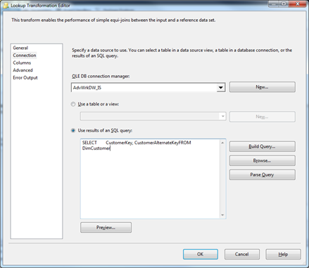 Using a Lookup Component in SSIS for Surrogate Keys in a