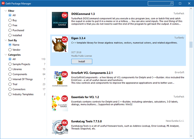 New in RAD Studio 10 3: Improvements to the GetIt, New Items, and